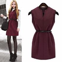 Vestido Blusón Tipo Lana Burgundy Moda Otoño Invierno 2016