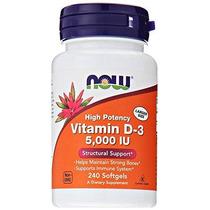 Now Foods Vitamina D3 5000 Ui 240 Cápsulas Blandas
