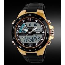 Relógio Masculino Skmei Quartzo Luxo Preto Dourado