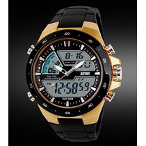 Relógio Importado Masculino Skmei Preto Dourado