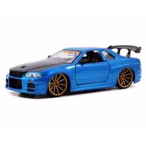 Miniatura Nissan Skyline Gt-r Bnr34 Bigtime Azul 1:24 Jada