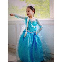Hermoso Disfraz Elsa Frozen, Peluca, Capa, Zapatos Original