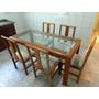 Mesa Madeira Maciça C/ Tampo Em Vidro + 6 Cadeiras Estofadas