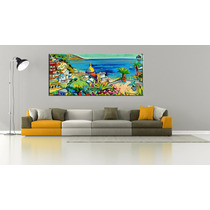 Santorini Bastidor En Tela Canvas 150x60 Envio Gratis
