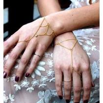 Hand Chains Anel Pulseira Corrente De Mão Delicada Dourada