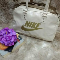 Bolsa Nike Branca Dourada Sacola Academia Fitness