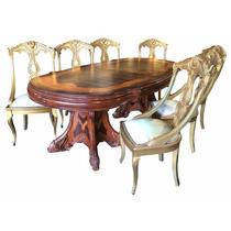 Mesa De Jantar Madeira Marchetada Com Cadeira Folheada Ouro
