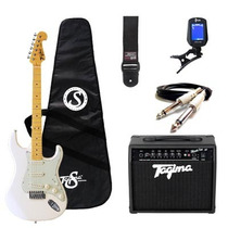 Kit Guitarra Tagima Woodstock + Acessórios - Branca Vintage