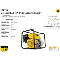 Moto Bomba Para Agua 9 Hp 4x4 650 L/min Pretul Dizome