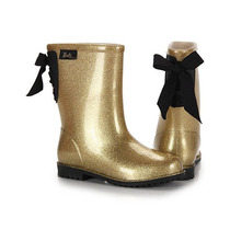 Bota Infantil Barbie Ouro Glitter Preto 52875 Galocha