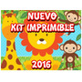 Kit Imprimible Animales De La Selva Invitaciones + Candy Bar