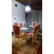 Mesa Jantar C/ Base Em Mármore E Tampo De Vidro + 8 Cadeiras