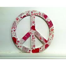 Simbolo Paz Madera Mdf Decoracion Diseño Adorno Pared Envios