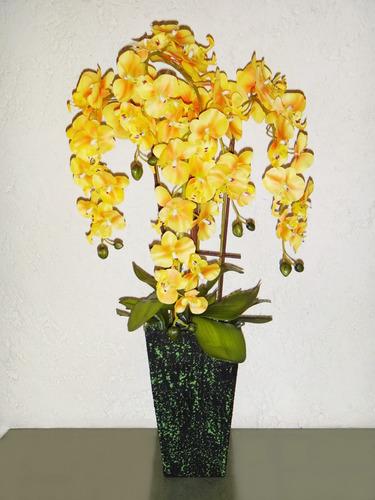 Flor orqu deas amarillas con maceta plantas adorno 579 - Maceta para orquideas ...