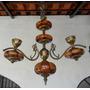 Lustre Antigo 3 Braços Faiança Latão Bronze - Cavalo Marinho