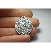 Medalla Religiosa Grande De San Miguel Y El Dragón En Plata