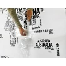 Adesivo De Parede Mapa Mundi Em Letras Rln123
