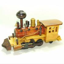 Locomotiva De Madeira Trem Maria Fumaça Brinquedo Decorativo
