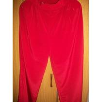 Palazo Dama Seda 44/46 Pantalon Rojo Muy Fino Impecable