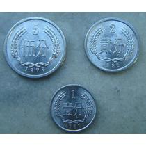 2991 China 3 Moedas 1, 2, 5 Yi Yuan, Alum 1976, 1985, 1987