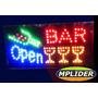 Letreiro Painel Placa Luminosa Em Led Escrito Open Bar