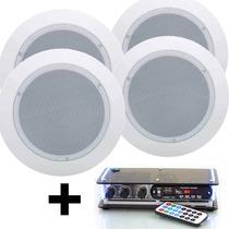 Kit Som Ambiente Amplificador Pc Bluetooth Caixa De Gesso