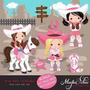 Kit Imprimible Vaqueros Cowgirl 7 Imagenes Clipart