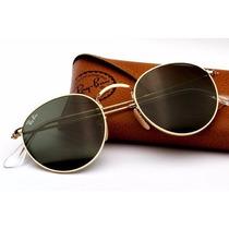 Óculos De Sol Redondo Round Feminino Preto Com Dourado Retrô