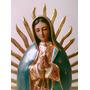Figura De Virgen De Guadalupe 60cm Dorada, Estofada