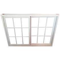 Ventana Aluminio Repartido Blanco Con Vidrio Y Reja 150x110