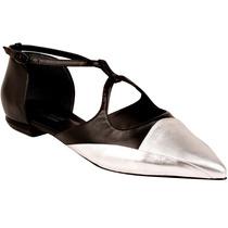 Sapatilha Shoestock Bico Fino Preta Prata Couro 37 38