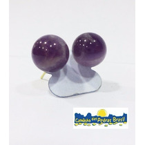 Brinco De Esfera Ametista/ Quartzo Verde/rosa/pedra Do Lua
