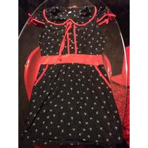 Vestido Seda Negro Con Detalles En Color Rojo