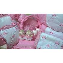 Kit Protetor De Berço Rosa - 27 Peças 100% Algodão