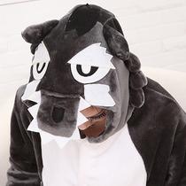 Pijama Disfraz Kigurumi Lobo Enterito De Polar Para Adultos