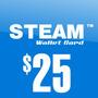 Steam Wallet Card - Tarjeta De $25 Dolares Nueva