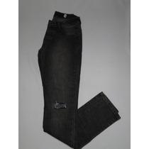 Calça Jeans Cinza Com Rasgo Perna Tam 38