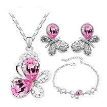 Collar,aretes Y Pulsera Mariposa Cristal Swarov Elements