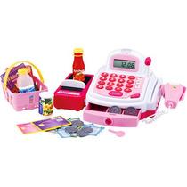 Caixa Registradora Infantil Com Som E Luz Rosa