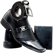 Sapato Social Masculino Verniz - Promoção + Carteira E Cinto