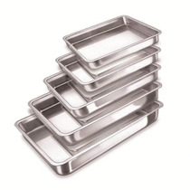 Kit Com 5 Assadeiras Retangular Alumínio Polido Alta