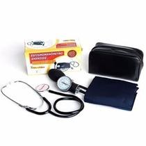 Kit Esfigmomanômetro Azul + Estetoscopio Simples Premium