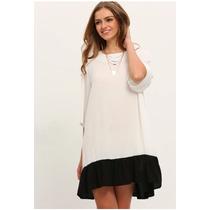 Vestido Blanco Y Negro Moda Juvenil Moda Japonesa Asiática