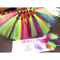 Disfraz Payaso 2 Tutu Y 2 Vincha Multicolor Nena Y Mujer