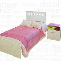 Dormitorio Juvenil Cama 1 Plaza + Mesa Luz Brillante Mosconi