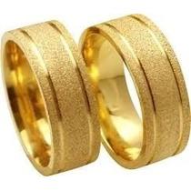 Par Alianças 10mm Folheada Ouro 18k Fosco Diamantado