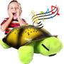 Abajur Infantil Tartaruga Pelucia Verde Musical Projetor