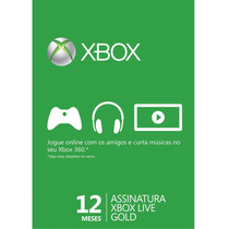 Cartão Xbox Live Gold 12 Meses - Código 25 Dígitos
