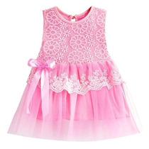 Vestido Infantil De Renda E Tule P Festa, Com Faixa Cabelo