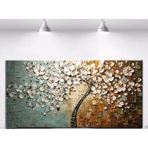 Quadro Pintura Em Tela Árvores Modernas Em Relevos De Tinta